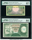 Indonesia Bank Indonesia 5; 10,000 Rupiah ND (1957); 1964 Pick 49; 101b Two Examples PMG Superb Gem Unc 67 EPQ; Choice Uncirculated 64. Pick 101b has ...