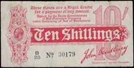 "Ten Shillings Bradbury First Issue T10 Red De La Rue Dot in No. 5 Digit serial number issue 1914 series B/23 30179 and a scarcer type note with ""P"" of..."