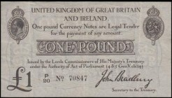 One Pound Bradbury Second issue T11.1 De La Rue black Five digit serial prefix letter only issue 1914 serial number P/20 70847, a presentable VF or be...