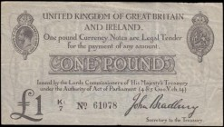 One Pound Bradbury Second issue T11.2 De La Rue black Five digit serial prefix letter & small number 1 issue 1914 serial number K1/7 61078, VF with ve...