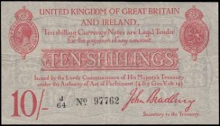 Ten Shillings Bradbury Second issue T12.1 De La Rue Red Five digit serial prefix Letter only issue 1915 serial number J/64 97762, presentable and well...