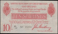 Ten Shillings Bradbury Second issue T12.2 De La Rue Red Five digit serial prefix Letter & small number 1 issue 1915 serial number M1/12 15259, present...