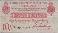 Ten Shillings Bradbury Second issue T13.2 Waterlow Red Six digit serial prefix Letter & small number 1 issue 1915 serial number W1/4 011073, presentab...
