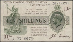 Ten Shillings Bradbury Third issue T17 Waterlow Bros & Layton photogravure print Brown, Purple and Green issue 1918 a single prefix variety and the fi...