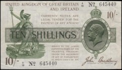Ten Shillings Bradbury Third issue T18 Waterlow Bros & Layton photogravure print Dash in No. Brown, Purple and Green issue 1918 a single prefix variet...
