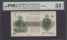 Ten Shillings Bradbury Third Issue T20 Red Dash in No. in serial number issue 16th December 1918 serial number B/11 078451, in a PMG holder graded abo...