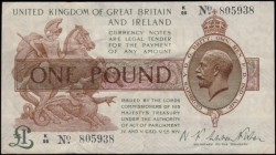One Pound Fisher First issue T24 Black serial number Dot in No. issue 30th September 1919 very FIRST series prefix serial number K/98 805938, presenta...