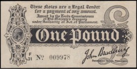 One Pound Bradbury First issue T3.3 Black Dot in No. Six digit serial issue 1914 serial number F/31 009978, an Exceptionally Rare and very well preser...