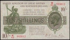 Ten Shillings Fisher Third issue T33 No. Omitted Northern Ireland in title issue 1927 LAST series prefix traced to W /80 serial number W/43 445012, VF...