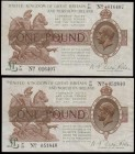 One Pounds Fisher Third Issue T34 Northern Ireland in title Dot in No. Brown, Purple & Green issue 1927 (2) a pair of LAST series prefixes serial numb...