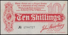 Ten Shillings Bradbury First Issue T9 Dash in ornate font No. Six digit serial De La Rue Red issue 1914 serial number A/16 700727, another more than a...