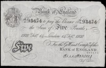 Five Pounds Harvey White Note B209a bearing the Valentine's Day date 100 Years ago on 14th February 1920 serial number 64/J 934774, a pleasing and pre...