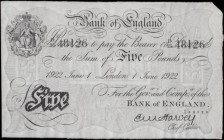 Five Pounds Harvey White Note B209a dated 1st June 1922 serial number D/25 48126 LONDON branch issue a pleasing GVF - EF and an Exceptionally Scarce n...