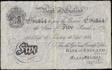 Five Pounds Harvey White note B209a a later dated 16th September 1924 with the 3 digit over letter fractional prefix serial n...