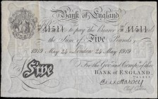 Five Pounds Harvey White note B209a an early dated 24th May 41511 with the 2 digit over letter fractional prefix serial numbe...