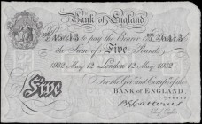 Five Pounds Catterns White note B228 dated 12th May 1932 serial number 203/J 46413 LONDON branch issue, a fresh and presentable pressed GVF and a fabu...