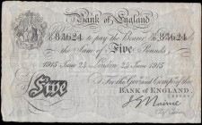 Five Pounds Nairne White Note B208b dated 24th June 1915 serial number 31/D 83624, VF and an Exceptionally Rare early example of the White Britannia m...