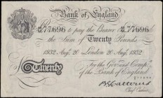 Twenty Pounds Catterns White note World War II German Operation BERNHARD forgery B230OB dated 20th August 1932 serial number 46/M 77696, VF - GVF with...