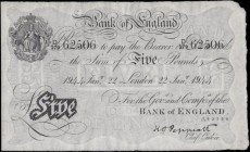 Five Pounds Peppiatt White note B241 LONDON branch issue dated 22nd January 1944 and serial number D/179 62506, and an Exceptionally high grade exampl...
