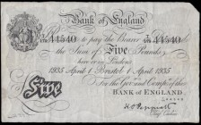 Five Pounds Peppiatt White note B241b BRISTOL branch issue dated 1st April 1935 serial number T/179 44540, a presentable and well-preserved VF with a ...
