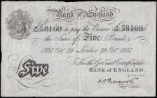Five Pounds Peppiatt White note World War II German Operation BERNHARD forgery B241OB dated 29th October 1935 serial number A/247 58160, VF or better ...
