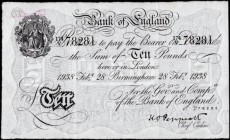 Ten Pounds Peppiatt Pre-war First Period Unthreaded White Note B242a BIRMINGHAM branch issue dated 28th February 1938 serial number 174/V 78281, an ex...