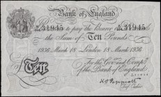 Ten Pounds Peppiatt White Note World War II German Operation BERNHARD forgery B242 dated 18th March 1936 serial number K/164 31945, a presentable GVF ...