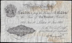 One Hundred Pounds Peppiatt First Period White Note B245 Unthreaded issue dated 18th June 1938 serial number 59/O 45716 LONDON branch issue, GVF - abo...
