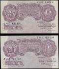 Ten Shillings Peppiatt Second Period B251 Mauve World War II Emergency issue 1940 (2) serial numbers Z18D 725138 and Z55D 433181. Both EF or better an...
