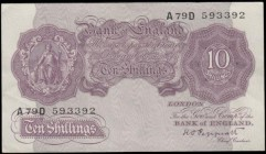 Ten Shillings Peppiatt Second Period B251 Mauve World War II Emergency issue 1940 serial number A79D 593392, GVF - about EF