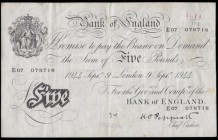 Five Pounds Peppiatt White note B255 Thick paper Metal thread LONDON branch issue and an earlier example for type dated 9th September 1944 serial numb...