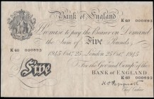 Five Pounds Peppiatt White note B255 Thick paper Metal thread LONDON branch issue dated 25th October 1945 serial number K60 000893, VF previously disp...