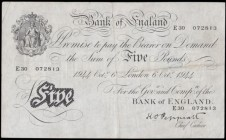 Five Pounds Peppiatt White note B255 Thick paper Metal thread LONDON branch issue dated 6th October 1944 serial number E30 072813, VF faint pencilled ...