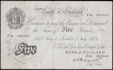 Five Pounds Peppiatt White note B255 Thick paper Metal thread LONDON branch issue dated on the US Independence day 4th July 1945 serial number J 62 06...