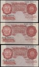 Ten Shillings Beale B266 Red-brown Britannia medallion issues 1950 (3) all with FIRST series serial numbers - Z51Z 414638, Z60Z 669543 and Z94Z 397913...