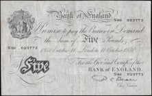 Five Pounds Beale White note B270 Thin paper Metal thread LONDON branch issue dated 11th October 1950 serial number S80 023773, presentable VF or very...