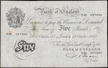 Five Pounds Beale White note B270 Thin paper Metal thread LONDON branch issue dated 13th October 1950 serial number S82 097280, VF stained with minor ...