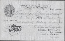Five Pounds Beale White note B270 Thin paper Metal thread LONDON branch issue dated 14th November 1950 serial number T10 089165, VF pressed and washed...
