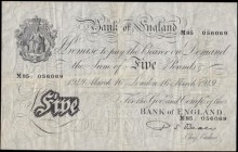 Five Pounds Beale White note B270 Thin paper Metal thread LONDON branch issue dated 16th March 1949 serial number M85 056069, VF