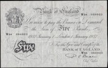 Five Pounds Beale White note B270 Thin paper Metal thread LONDON branch issue dated 1st January 1952 serial number W64 084923, VF or slightly better m...