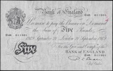 Five Pounds Beale White note B270 Thin paper Metal thread LONDON branch issue dated 21st September 1949 serial number O48 011901, presentable VF press...
