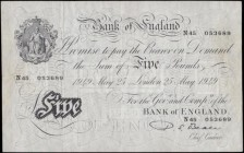Five Pounds Beale White note B270 Thin paper Metal thread LONDON branch issue dated 25th May 1949 serial number N45 053689, presentable VF with an ink...