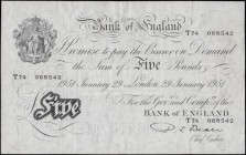 Five Pounds Beale White note B270 Thin paper Metal thread LONDON branch issue dated 29th January 1951 serial number T74 068542, VF lightly pressed and...