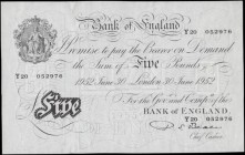 Five Pounds Beale White note B270 Thin paper Metal thread LONDON branch issue dated 30th June 1952 serial number Y20 052976, a pleasing high grade exa...