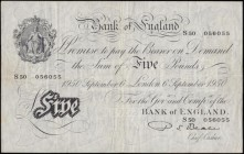 "Five Pounds Beale White note B270 Thin paper Metal thread LONDON branch issue dated 6th September 1950 an interesting ""declining"" serial number S50 05..."