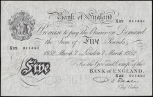 Five Pounds Beale White note B270 Thin paper Metal thread LONDON branch issue dated 7th March 1952 serial number X22 011451, GVF and pleasing. For a c...