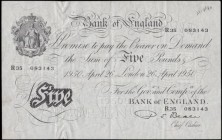 Five Pounds Beale White Note B270 dated 26th April 1950 serial number R35 083143, a presentable GVF with an original most likely a Bank teller's annot...