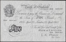 Five Pounds O'Brien White note B275 Thin paper Metal thread LONDON branch issue dated 22nd April 1955 serial number Z53 024183, presentable VF - GVF