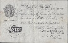 Five Pounds O'Brien White note B275 Thin paper Metal thread LONDON branch issue dated 4th April 1955 serial number Z38 067961, VF or near