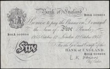 Five Pounds O'Brien White note B276 Thin paper Metal thread LONDON branch issue dated 12th October 1955 serial number B03A 009604, presentable VF or s...